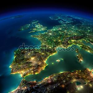 Ночной земли. часть Европы - Испания, Португалия, Франция
