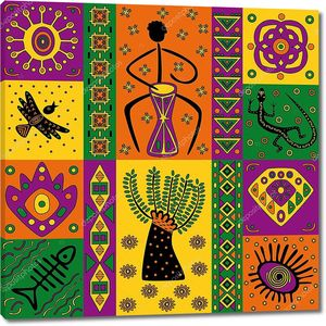 Разноцветные квадратики с африканскими мотивами