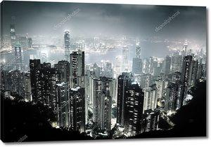 Остров Гонконг с пика Виктории ночью