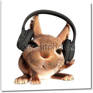 Кролик в наушниках