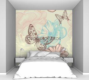 бесшовный цветочный узор с розами и бабочками, рука рисунок. вектор.