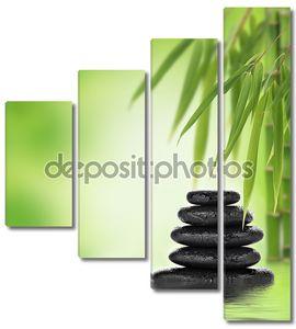 спокойный дизайн zen с уложены камни и бамбука