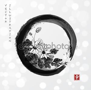 Цветки хризантемы в ЭНСО zen круга