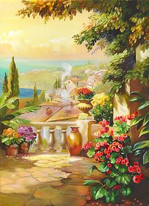 Живописный вид с цветочной террасы
