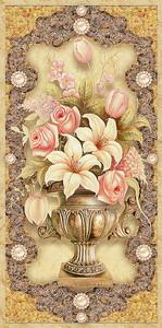 Розы и лилии в медной вазе