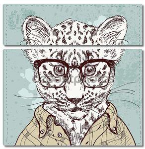 вектор битник Леопард с очки и костюм