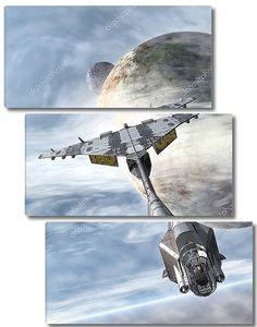 космический корабль истребитель и планет