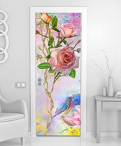 Голубая птичка с розами