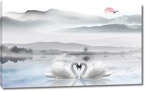 Два лебедя на фоне гор