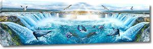 Дельфины в водном пороге