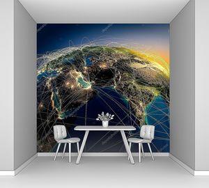 Планета Земля ночью со свечением континентов