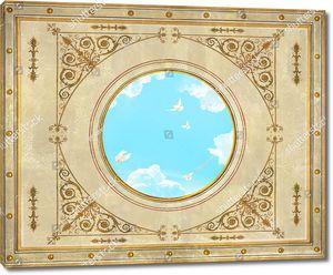Небо с голубями в центре