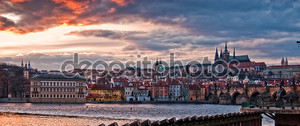 Прага панорама на закате