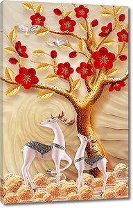 Грациозные олени под золотым деревом