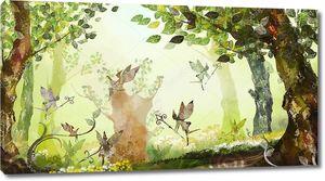 Сказочный лес, туман, эльфы