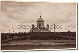 Собор Христа Спасителя и большой каменный мост. Москва, Россия.