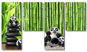 Панды на фоне бамбука