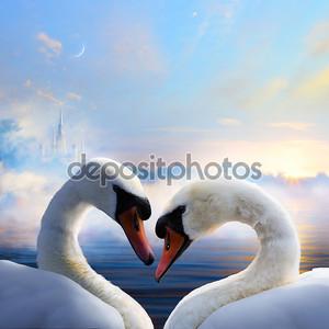 Искусство пара лебедей в любви, плавающий на воде на рассвете th