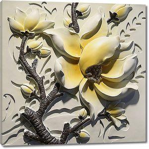Крупный цветок из гипса