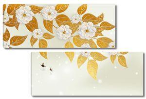 Цветущая ветка с золотыми листьями