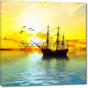 Красивый пейзаж с кораблем