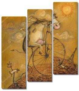 Симпатичная корова на велосипеде. Эшафельная башня в Париже, открытка в стиле ручной работы .