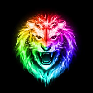 Глава красочный огонь Льва