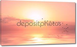 Красивое небо на закат или Восход солнца с летающих птиц к солнцу,