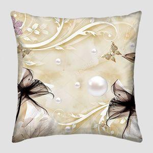 Бежевый мраморный фон, цветы с жемчугом