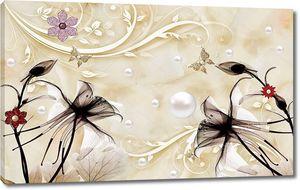 3d иллюстрация, бежевый мраморный фон, серебряный жемчуг, темные водяные лилии, декоративные бежевые ветви с красными и фиолетовыми цветами