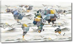 Карта континентов из геометрических фигур