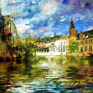 Старый Бельгии канал - фотография на живопись стиль