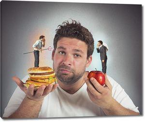 Сложный выбор между здоровой и вредной пищей