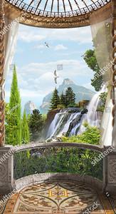 Полукруглая терраса с видом на водопады