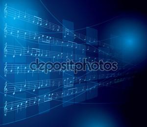 Синий музыкальный фон с нотами и квадраты - вектор