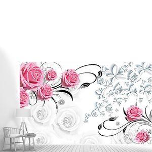 Розовые розы и узоры